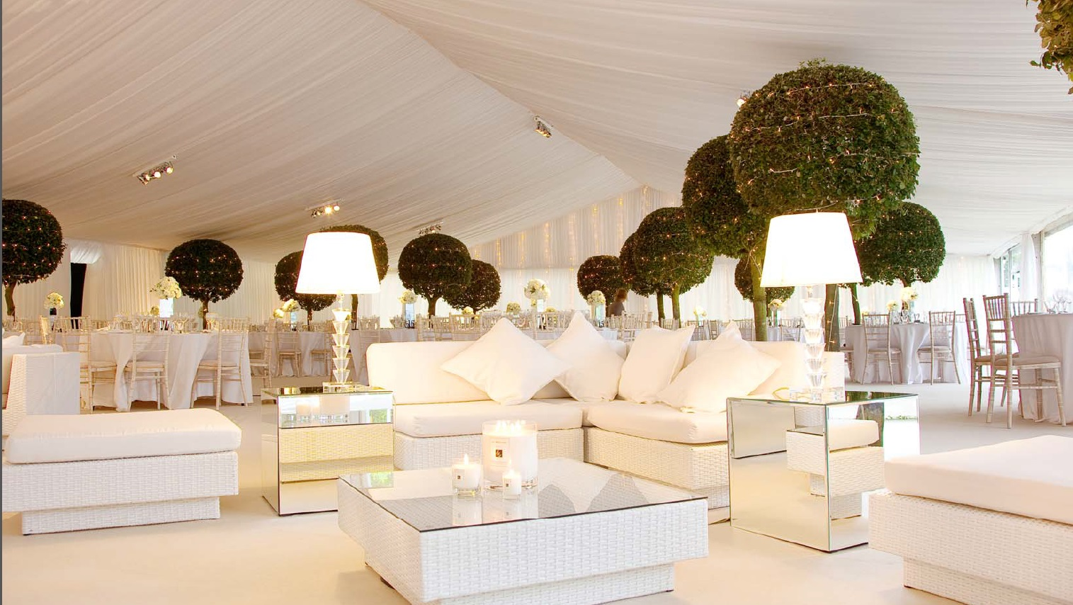 White event furniture hire in marquee
