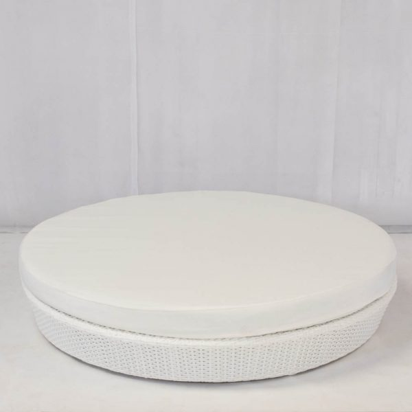circular daybed in white rattan with cotton mattress: chill out furniture hire
