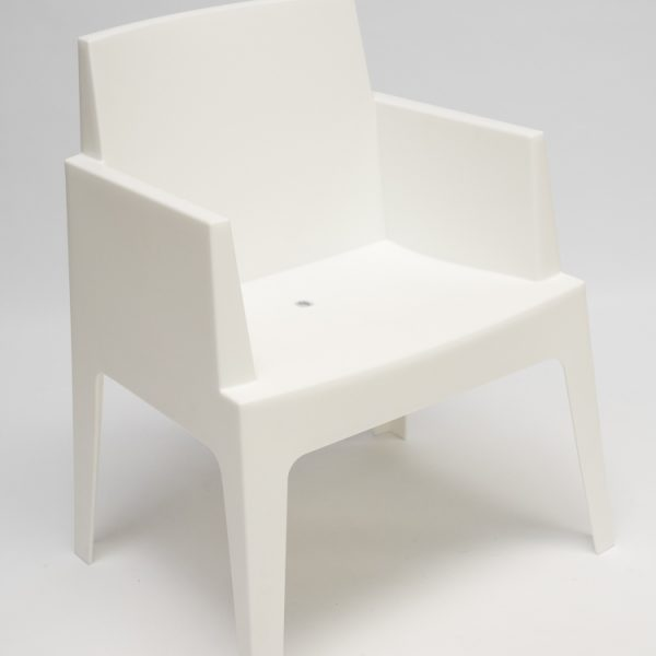 plastic armchair in white to hire