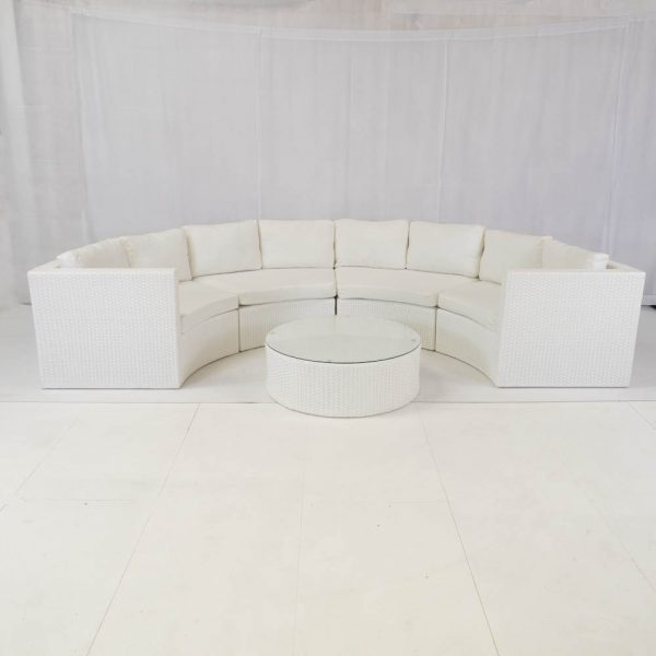 Bulgari White Curved Sofa Set Hire