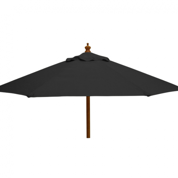 black fabric parasol with base