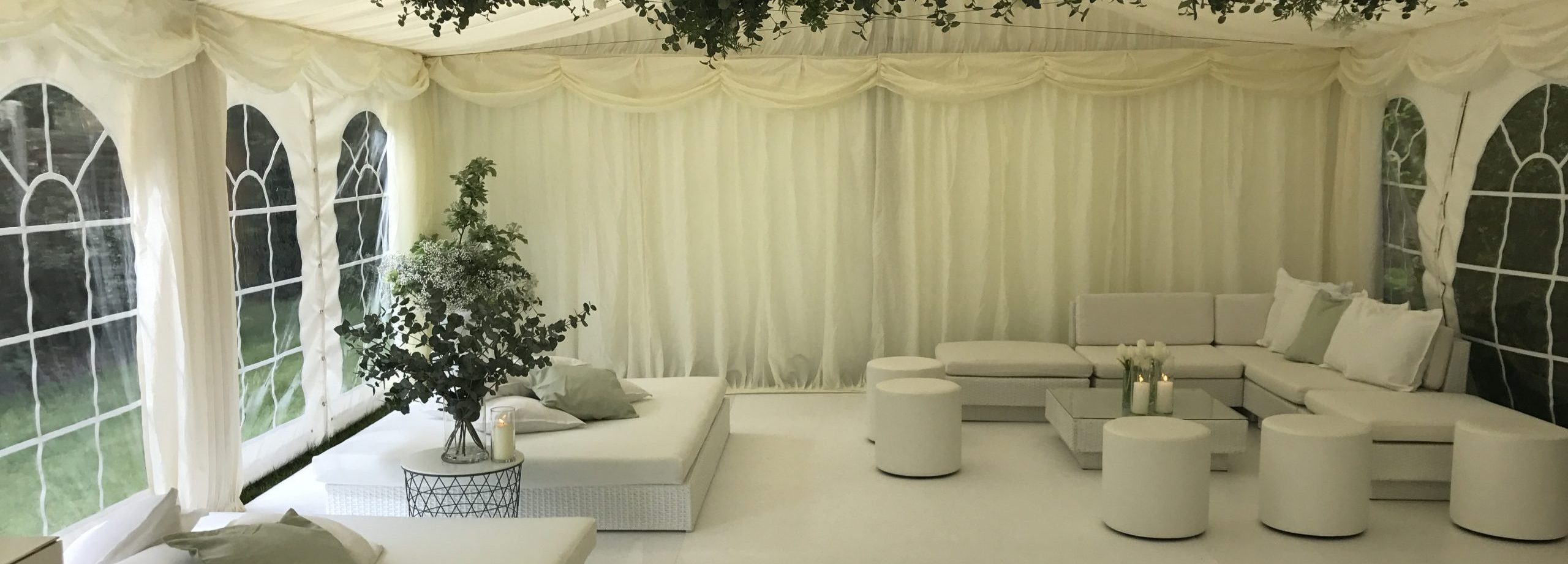 chill out furniture hire: white rattan daybeds
