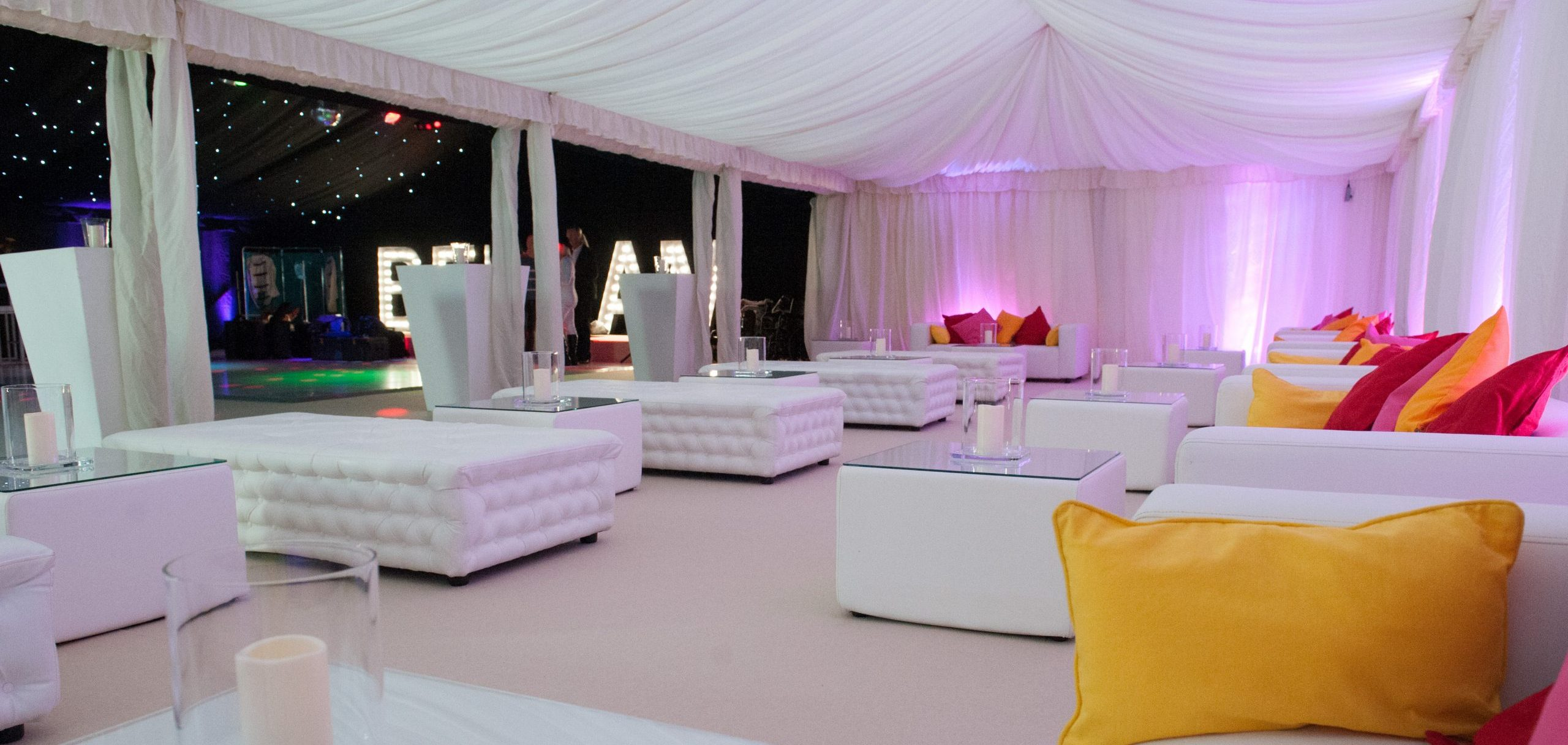 white furniture hire: faux leather chesterfield benches