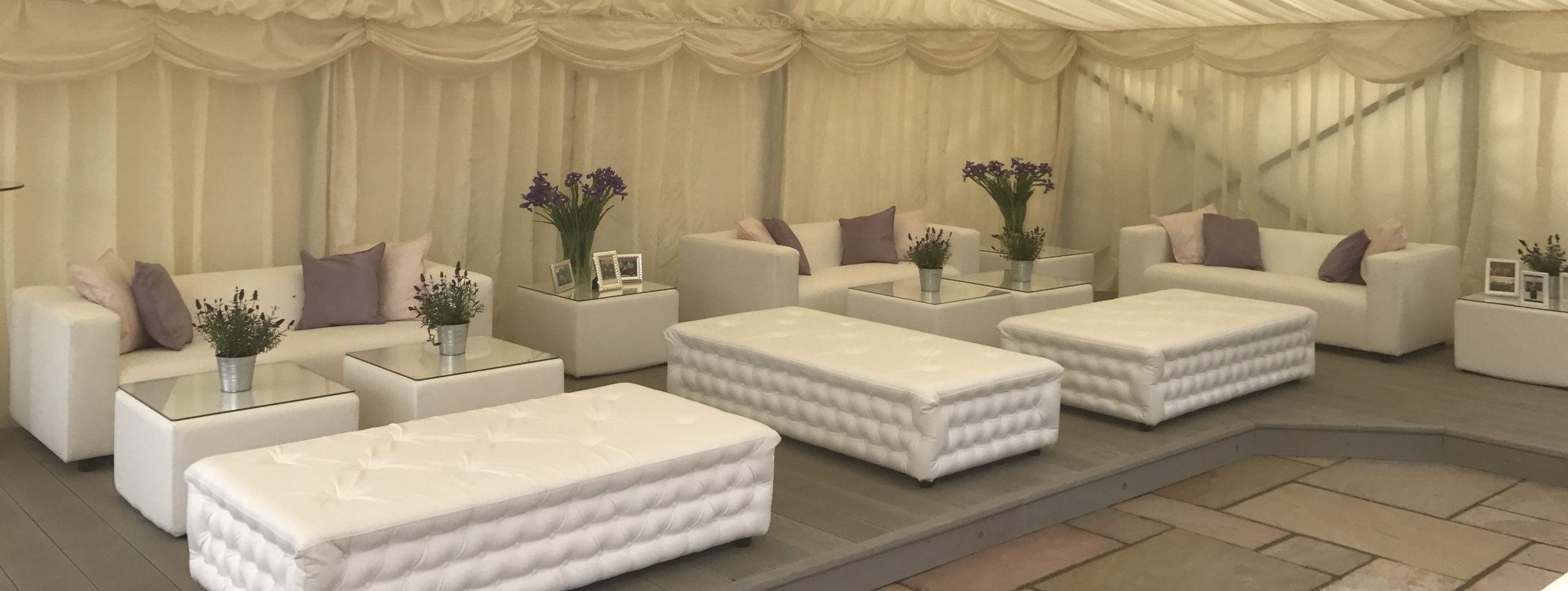 marquee furniture hire: chesterfield benches